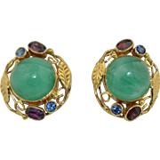 13 CWT Emerald Sapphire & Garnet 14K Earrings