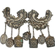 Unusual Gypsy Style Metal Spec NY  Belt Buckle with Charms