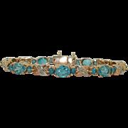 10K Brilliant Blue Topaz & Diamond Bracelet