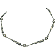 Exquisite Modernist Sterling Silver & Pearl Necklace