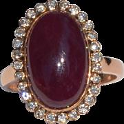 9.4 Carat Natural Ruby and Diamond Halo Ring 14K Rose Gold