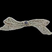 14K Art Deco White Gold & Sapphire Bow Filigree Pin