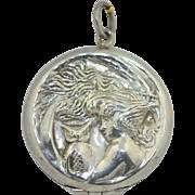 Art Nouveau Sterling Silver Original Locket Owl & Lady