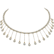 Stunning Cultured Pearl and 14K Yellow Gold Necklace