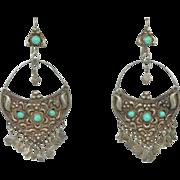 Sterling Silver & Turquoise Gypsy Dangle Earrings