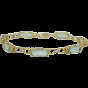 12 Carat Natural Aquamarine and Diamond Bracelet 10K Yellow Gold