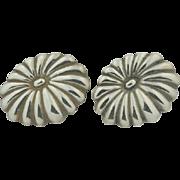 Los Castillo Sterling Silver Taxco Chrysanthemum Floral Earrings