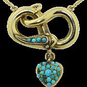 Georgian 15K & Persian Pave Turquoise Snake Necklace & Hair Locket