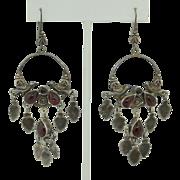 Long Dangle Vintage Mexican Sterling Silver & Garnet Earrings