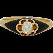 Victorian 1/4 Carat Old European Cut Diamond & Enamel Ring