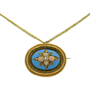 Victorian 18K Etruscan Revival Robins Egg Blue Enamel with Coral and Diamonds Pendant / Pin
