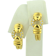 18K Yellow Gold and Diamond Hoop Earrings 10 grams