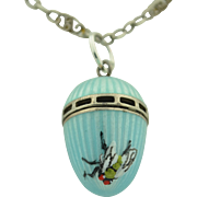 Victorian Sterling Silver Guilloche Vinaigrette French Chain Hand Painted Insect Fly.....  So cute and unusual