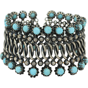1900's Sterling Silver Wide Bracelet with Turquoise Blue Accents