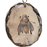 Victorian Smoky Quartz and Sterling Silver Insect Fly Pendant