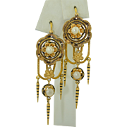 Victorian French 18k Pearl and Enamel Dangle Earrings