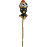 Blackamoor 14K Enamel & Coral Italian Stick Pin