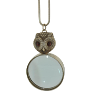 Victorian Sterling Silver Owl Magnifying Glass Pendant