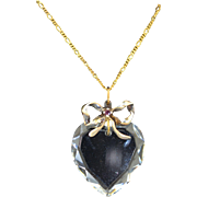 Victorian Heart Cut Crystal Sterling Silver Vermeil Bow
