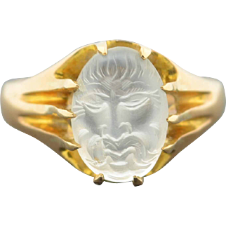 Antique 9K Hand Carved Man In the Moon Face Ring dated 1910