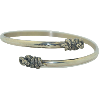 Vintage Sterling Silver Snake Wrap Around Armlet Bracelet
