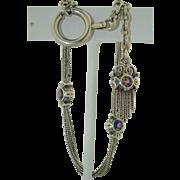 Victorian French Sterling Silver & Enamel Tassel Bracelet Watch Fob Chain
