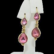 Georgian 18K Pink Tourmaline Dangle Earrings