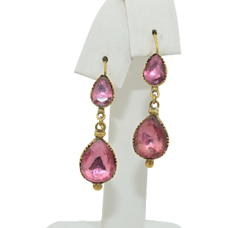 Georgian 18K Pink Tourmaline Dangle Earrings