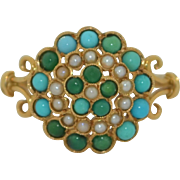 18K Swedish Persian Turquoise and Seed Pearl Ring by Gustav Dahlgren