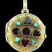 Early Victorian Vermeil Heart Cut Garnet & Persian Turquoise Locket Pendant