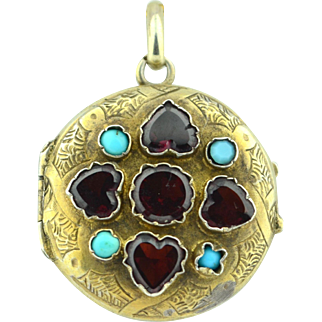 Early Victorian Vermeil Heart Cut Garnet & Persian Turquoise Locket Pendant