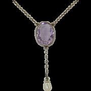 Edwardian Sterling Silver Amethyst & Pearl Drop Necklace