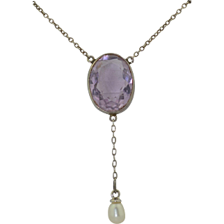 Edwardian Sterling Silver Amethyst & Pearl Drop Necklace