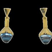 14K Aquamarine Torpedo Drop Dangle Earrings