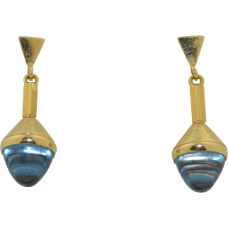 14K Aquamarine Torpedo Drop Dangle Earrings