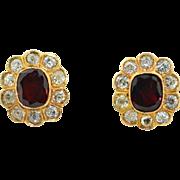 18K  Diamond 2.6CTW & Garnet Halo Earrings