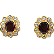 18K Rubellite Tourmaline & Diamond Halo Earrings