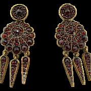 Victorian Sterling Silver Gilt Bohemian Garnet Dangle Earrings
