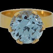 18K High Crown Swedish Modernist Ring ~ 5ctw Topaz
