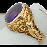 14K Art Nouveau Nude Lady Amethyst Ring