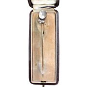 Victorian 14k Moonstone & Diamond Jockey Hat Stick Pin