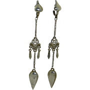"""Antique Chinese Silver 3 1/4"""" Long Dangle Earrings"""