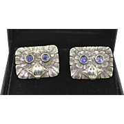 Amazing Vintage Sterling Silver Owl Cufflinks with Iolite Eyes and Amazing Details