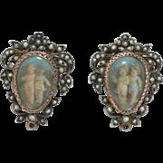 Georgian Hand Painted Miniature Cherub Earring with Seed Pearls