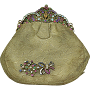 Jeweled Aquamarine, Emerald, Ruby & Sapphire Purse Sterling Silver Brocade With matching Brooch