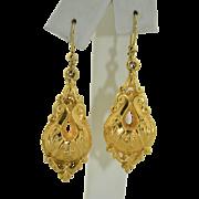 Antique 9K Yellow Gold Dangle Earrings