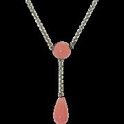 Late Victorian 800 Silver Lariat Y Necklace