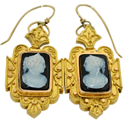 Victorian 14K Etruscan Revival Cameo Right & Left Facing Earrings
