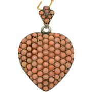 Victorian Large Pave Coral Heart Locket Pendant - Silver