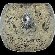 Vintage Very Wide Sterling Silver Bubble Cuff Bracelet